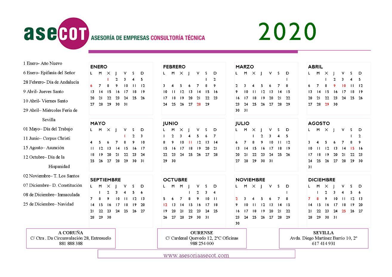 CALENDARIO LABORAL SEVILLA 2020